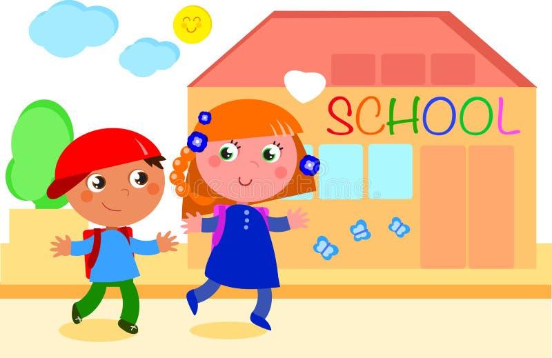 Leerlingen die naar school gaan royalty-vrije illustratie