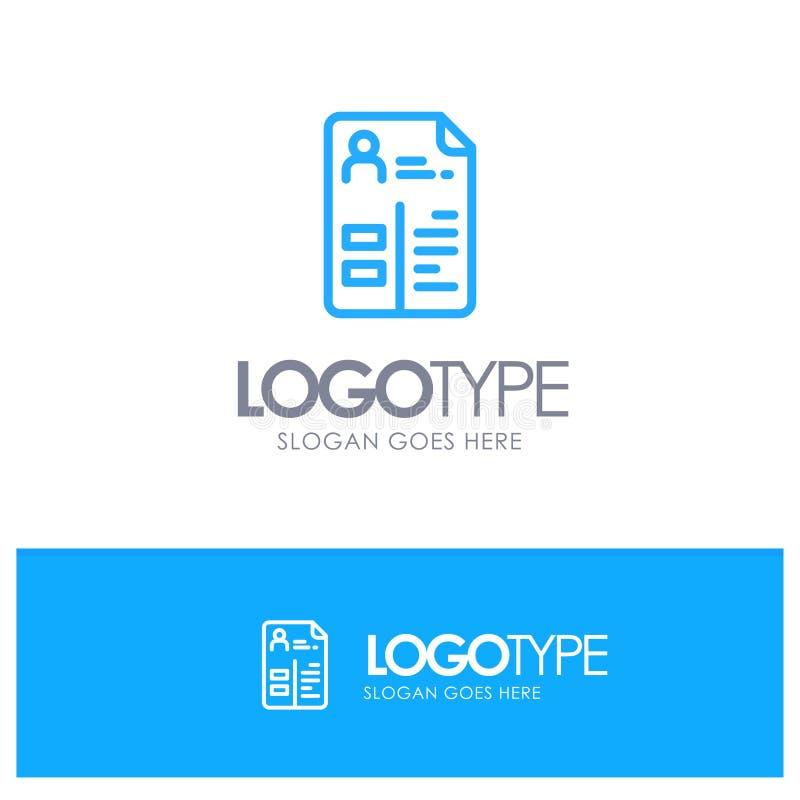 Leerplan, Cv, Baan, Embleem van het Portefeuille het Blauwe overzicht met plaats voor tagline vector illustratie