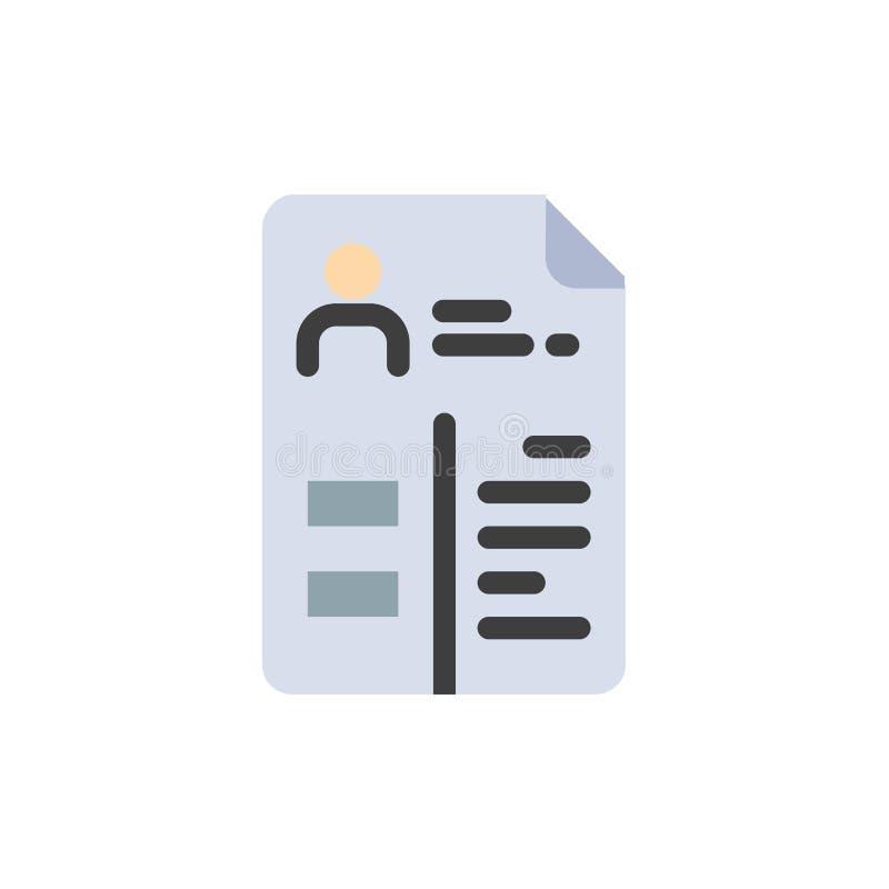 Leerplan, Cv, Baan, Pictogram van de Portefeuille het Vlakke Kleur Het vectormalplaatje van de pictogrambanner royalty-vrije illustratie
