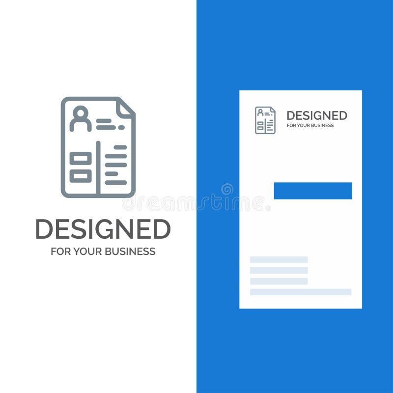 Leerplan, Cv, Baan, Portefeuille Grey Logo Design en Visitekaartjemalplaatje royalty-vrije illustratie