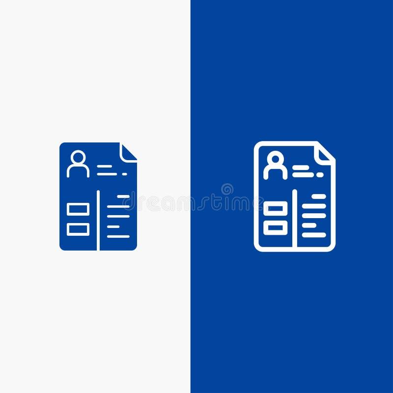 Leerplan, Cv, Baan, Portefeuillelijn en Lijn van de het pictogram Blauwe banner van Glyph de Stevige en Stevige het pictogram Bla royalty-vrije illustratie