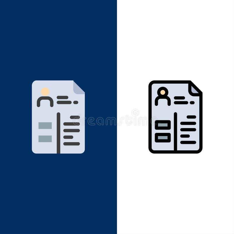 Leerplan, Cv, Baan, Portefeuillepictogrammen Vlak en Lijn vulde Pictogram Vastgestelde Vector Blauwe Achtergrond vector illustratie