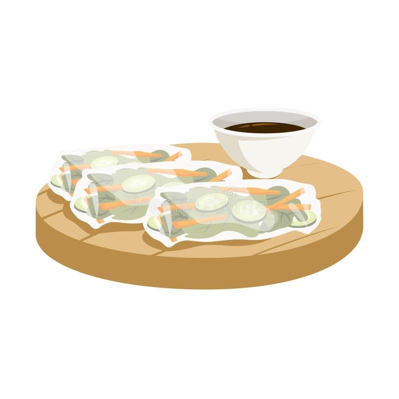 Leerrollen, aziatische keuken Chinees eten met sla vector illustratie