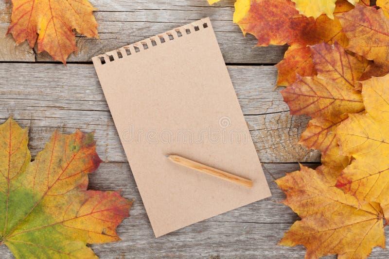 Leerseite und bunte Herbstahornblätter lizenzfreies stockbild