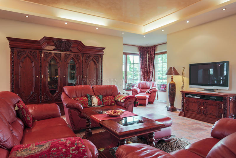 Leerzetel in woonkamer royalty-vrije stock afbeelding