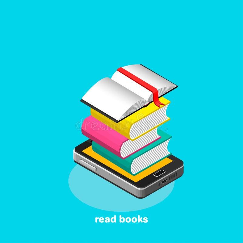Lees elektronisch boeken op een smartphone stock illustratie