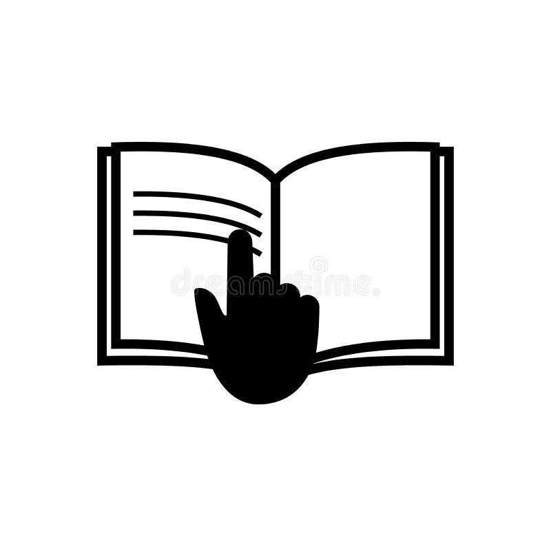 Lees het hand verpakkende symbool, lees het instructiespictogram stock illustratie