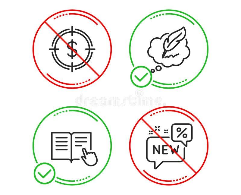 Lees instructie, Dollardoel en Copyright-vastgestelde praatjepictogrammen Nieuw teken Vector vector illustratie