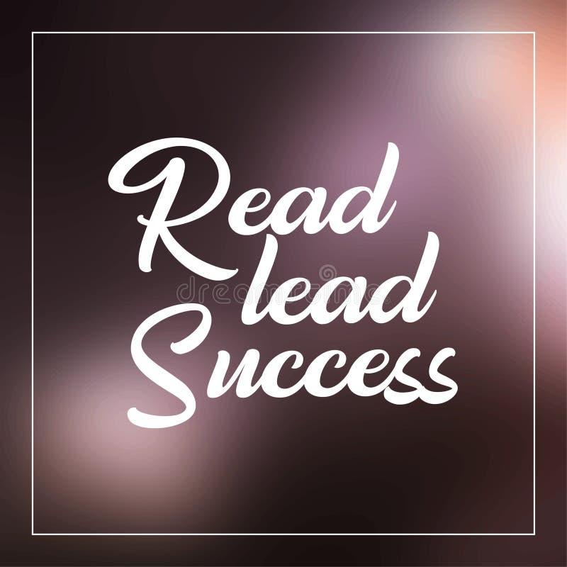 Lees, leid, slaag Inspirational en motivatiecitaat royalty-vrije illustratie