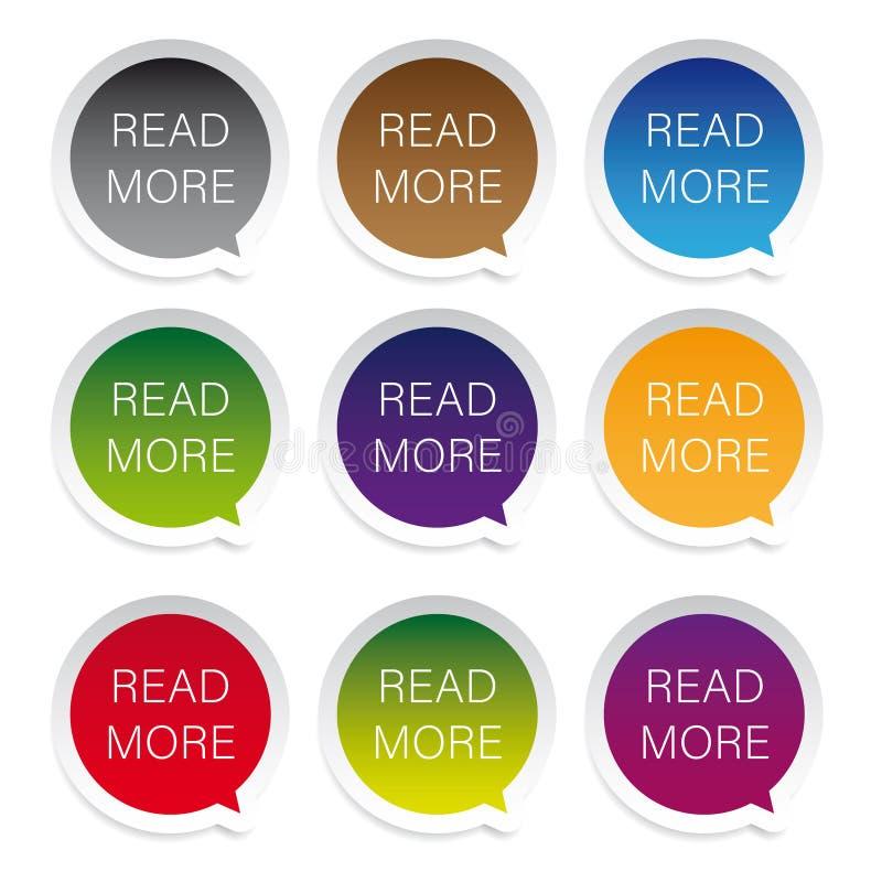 Lees Meer etiket vastgestelde markering stock illustratie
