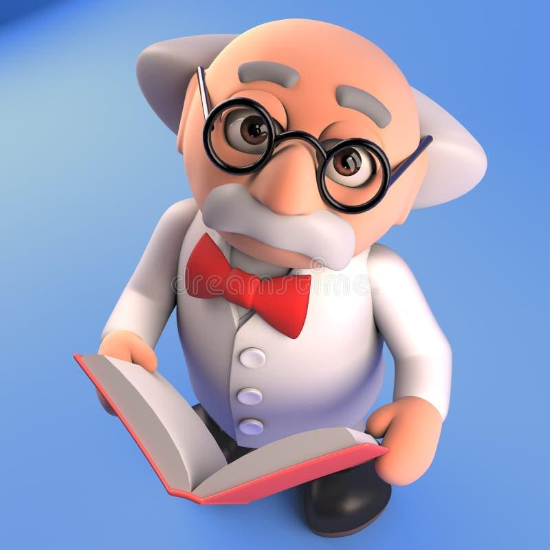 Leest de boekenwurm gekke wetenschapper een ander krachtig boekdeel door, 3d geef terug royalty-vrije illustratie