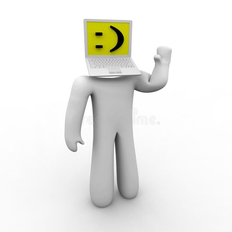 Leet Speak - Smiley Face. A figure with a laptop computer head smiles in leet speak royalty free illustration
