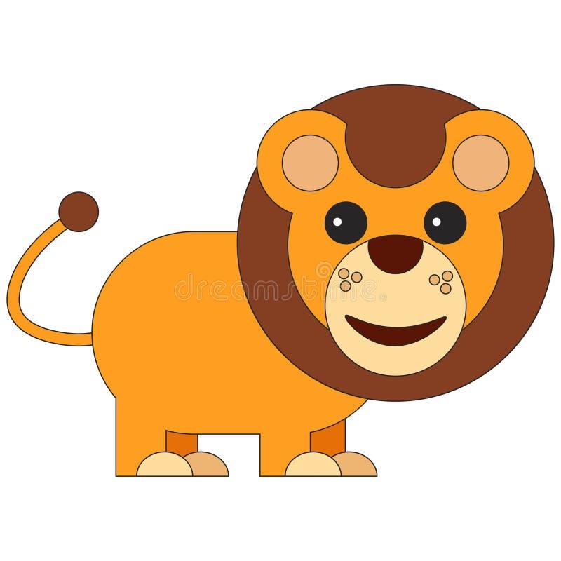Leeuw in beeldverhaal vlakke stijl vector illustratie