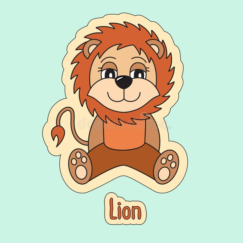 Leeuw, beeldverhaalleeuw Het teken van de dierenriem Dier Jong geitje` s illustratie stock illustratie