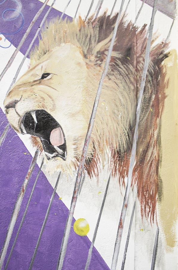 Leeuw in circus royalty-vrije stock foto