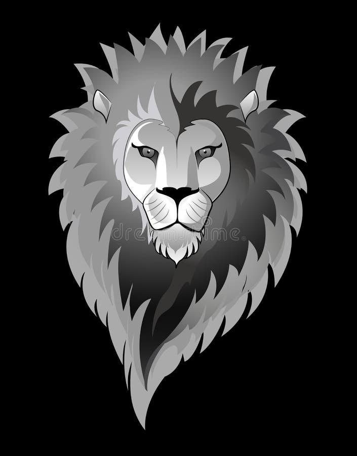 Leeuw die op zwarte wordt geïsoleerds stock illustratie