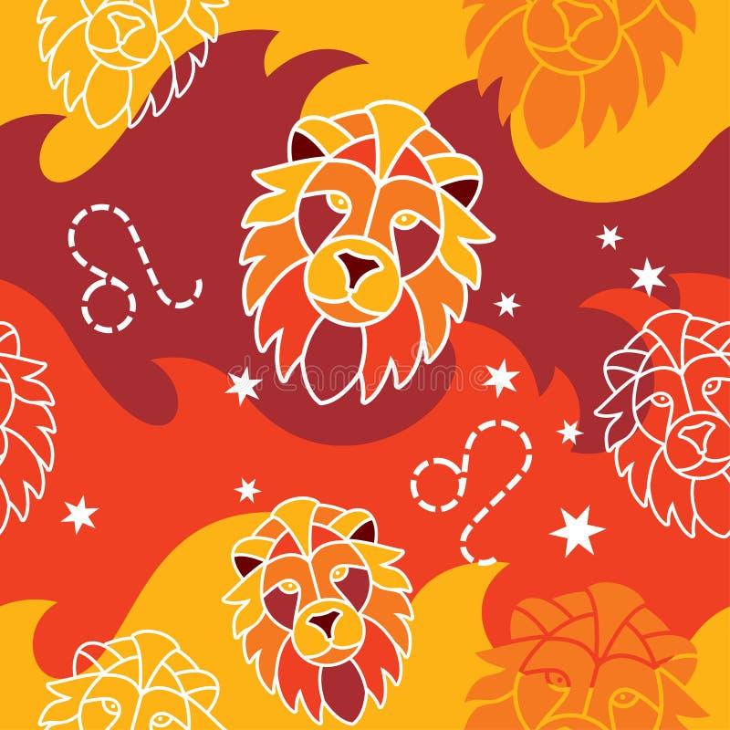 Leeuw - Dierenriem naadloos patroon vector illustratie