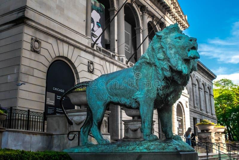 Leeuw door Chicago Art Institute royalty-vrije stock afbeelding
