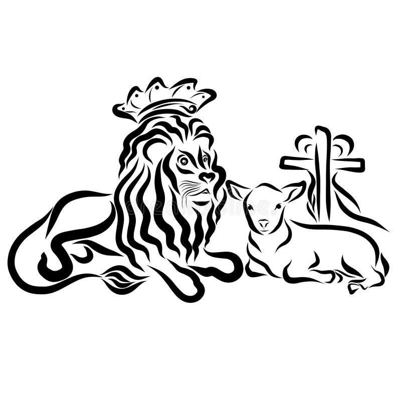 Leeuw in een kroon en een lam met een kruis en een hart, Verlosser vector illustratie