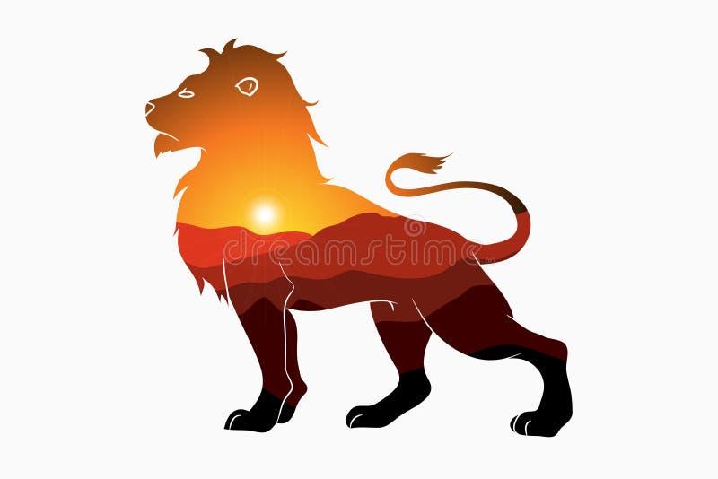 Leeuw en aard dubbele blootstelling - dierlijk silhouet met berglandschap en zon Moderne in illustratie voor embleem stock illustratie