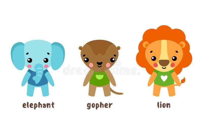 Leeuw en dier, de karakters van het gopherbeeldverhaal stock illustratie