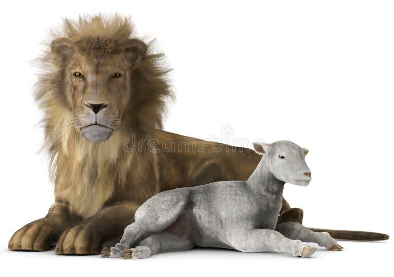 Leeuw en lam royalty-vrije stock afbeelding