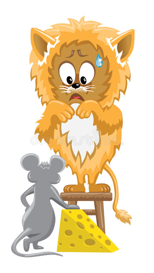 Leeuw en muis met kaas royalty-vrije illustratie