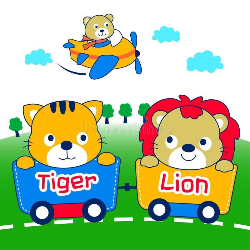 Leeuw en tijger stock illustratie
