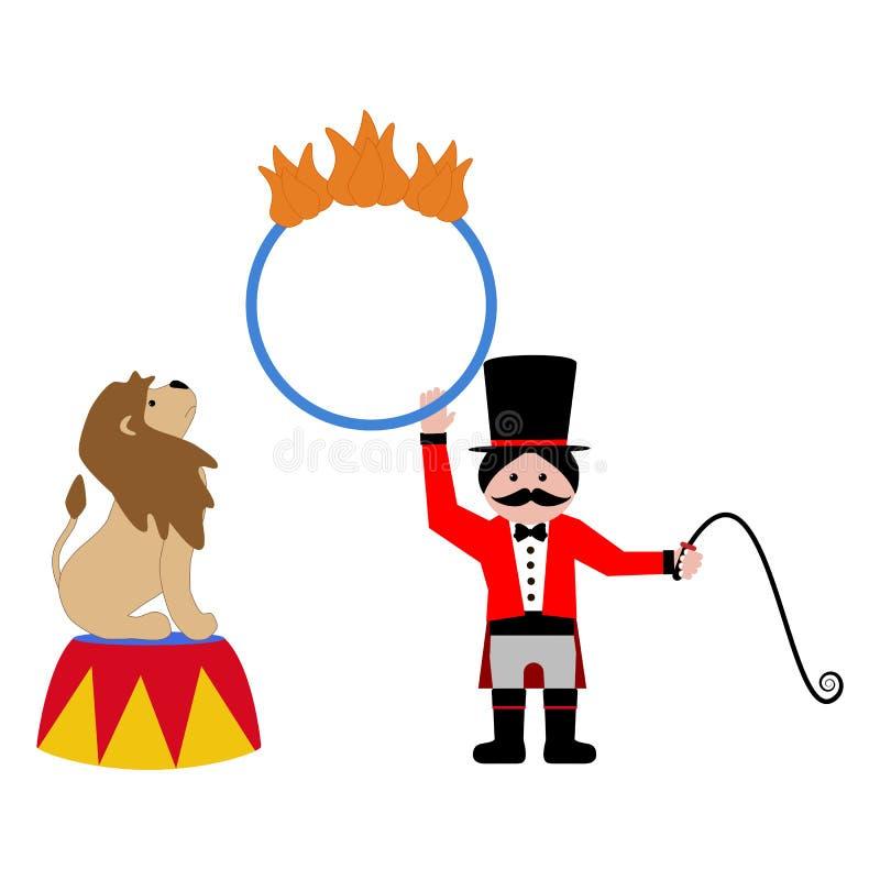 Leeuw en trainer vector illustratie