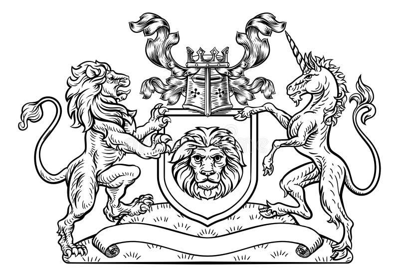 Leeuw en Unicorn Shield Heraldic Coat van Wapens vector illustratie