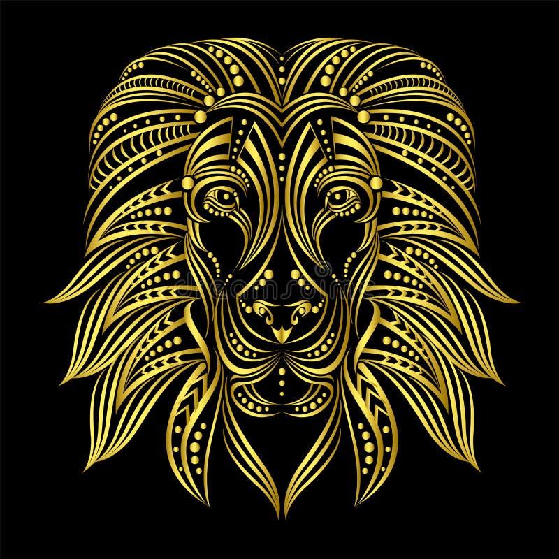 Leeuw in etnische stijl wordt geschilderd die Indische/Afrikaanse stijl Schets van tatoegering of druk op een T-shirt royalty-vrije illustratie