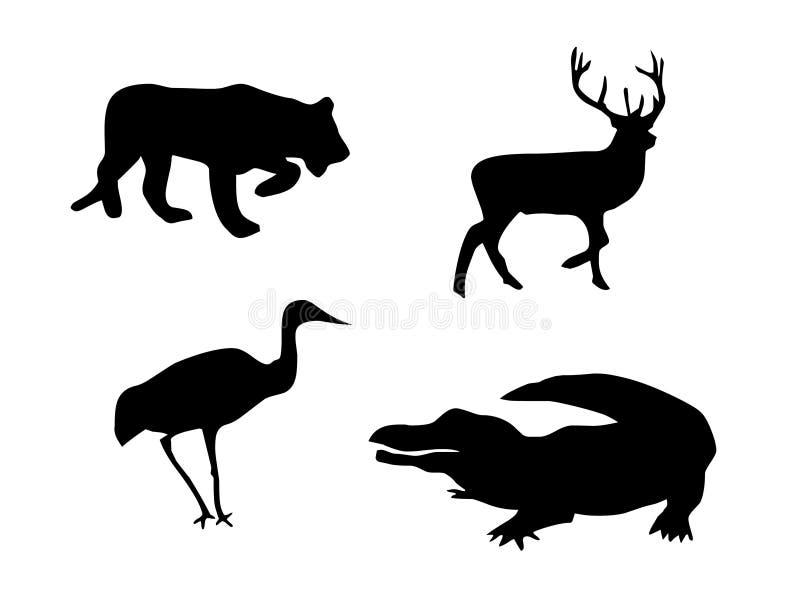 Leeuw, herten, vogel en krokodil vector illustratie