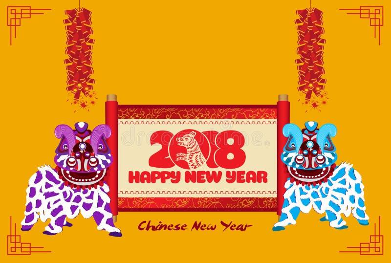 Leeuw het dansen Chinees nieuw jaar met rolbanner en voetzoeker stock illustratie