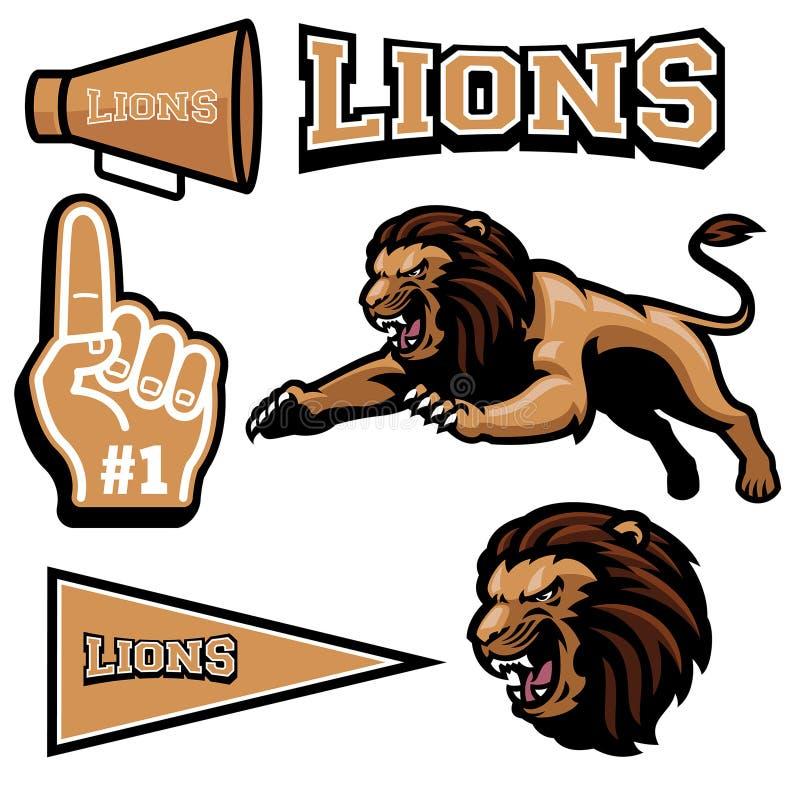 Leeuw het springen mascotte royalty-vrije illustratie