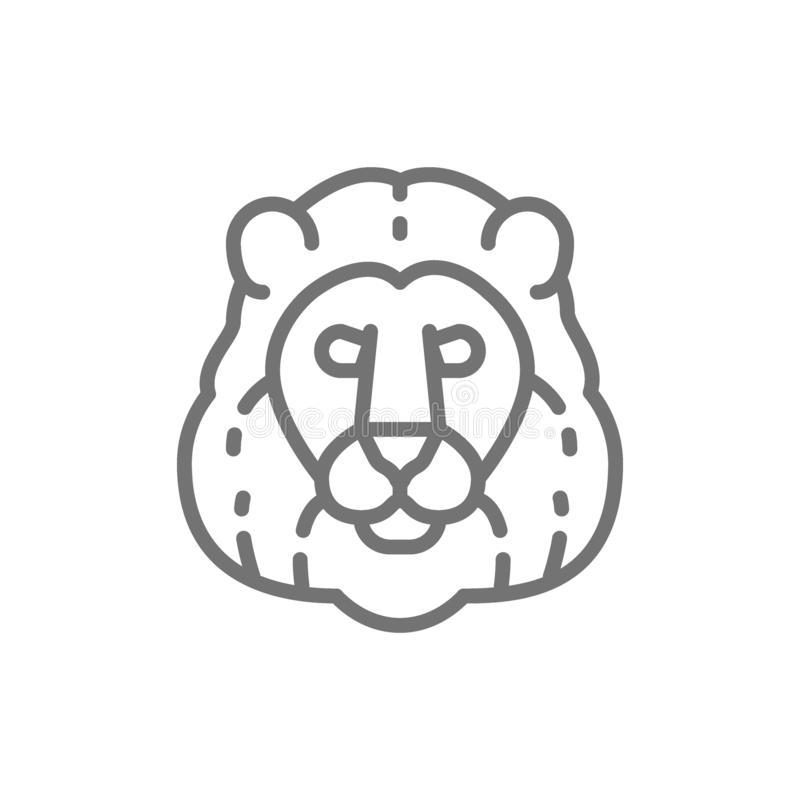 Leeuw, het wilde pictogram van de katten hoofdlijn vector illustratie