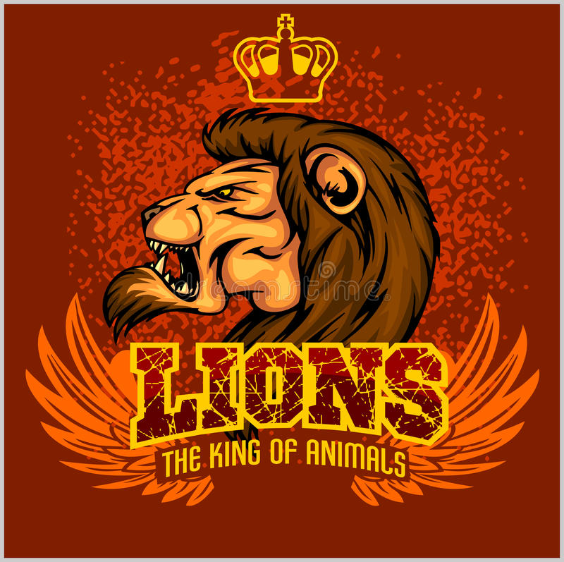 Leeuw hoofdmascotte - vectorillustratie voor sport vector illustratie