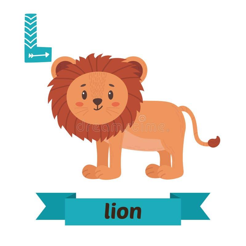 Leeuw L- brief Leuk kinderen dierlijk alfabet in vector Grappig c royalty-vrije illustratie
