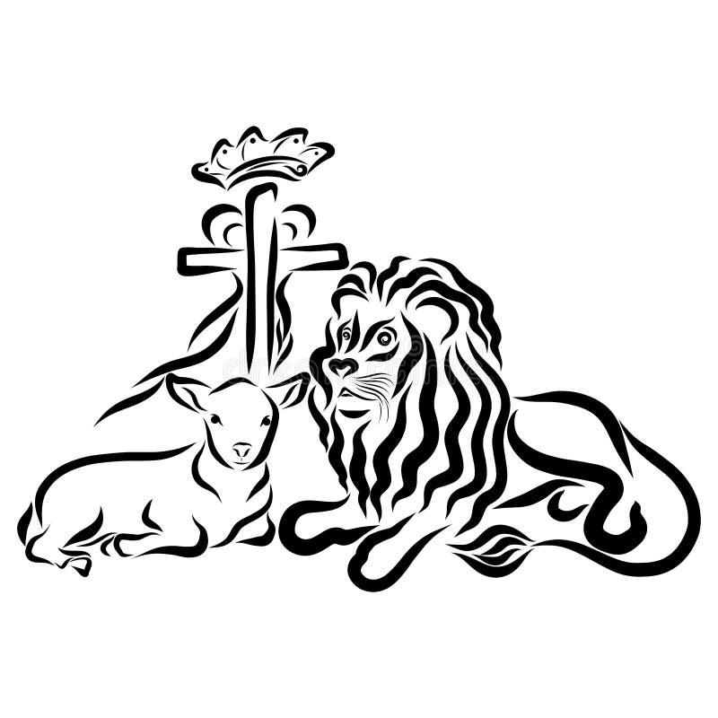 Leeuw met een lam en een kruis met een hart en een kroon vector illustratie
