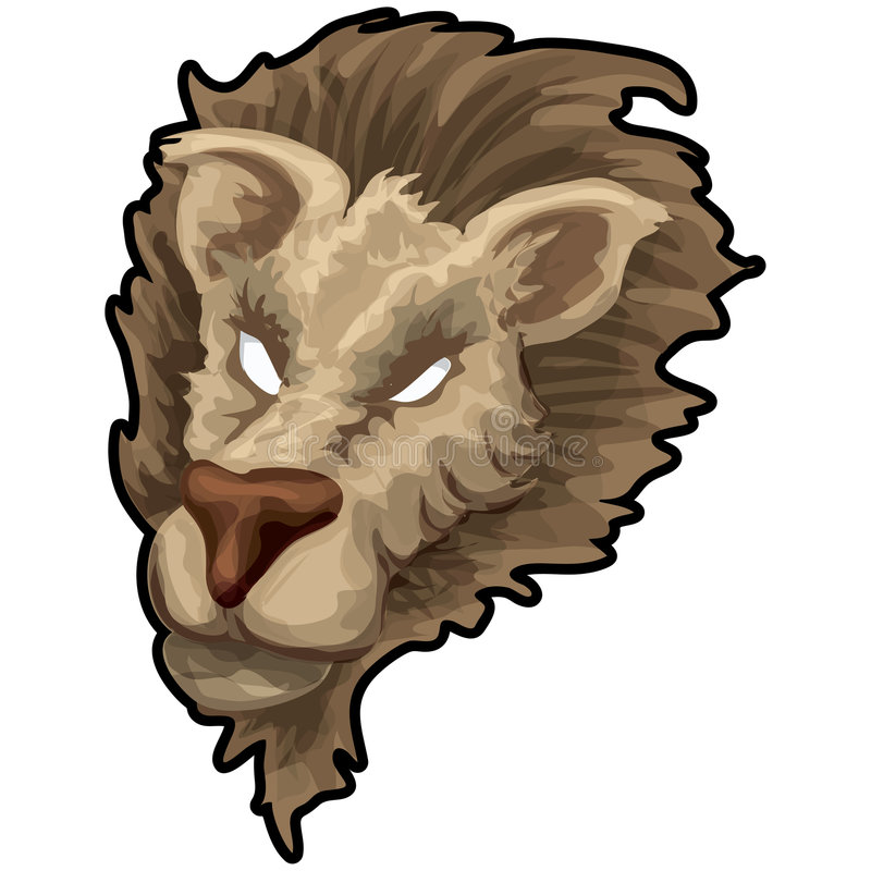 Leeuw met het knippen van weg royalty-vrije illustratie