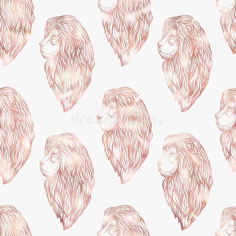 Leeuw naadloos patroon Grafisch in roze gouden kleuren stock illustratie