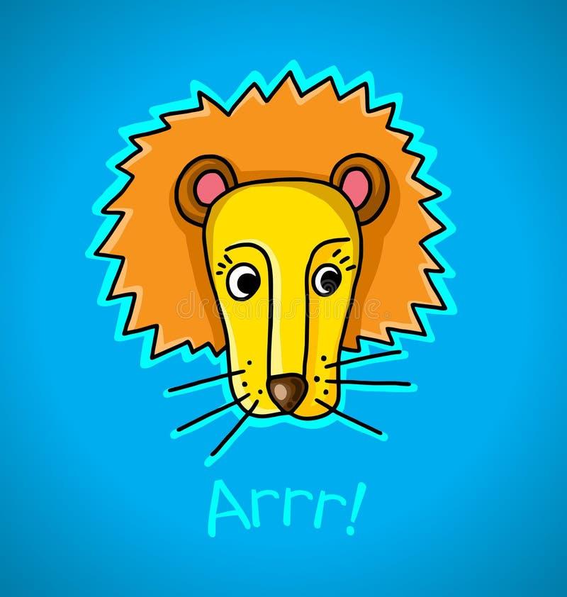Leeuw op een blauwe achtergrond stock illustratie