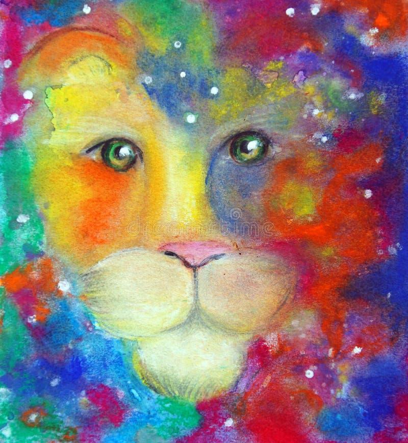 Leeuw` s gezicht in een kleurrijke mist stock illustratie