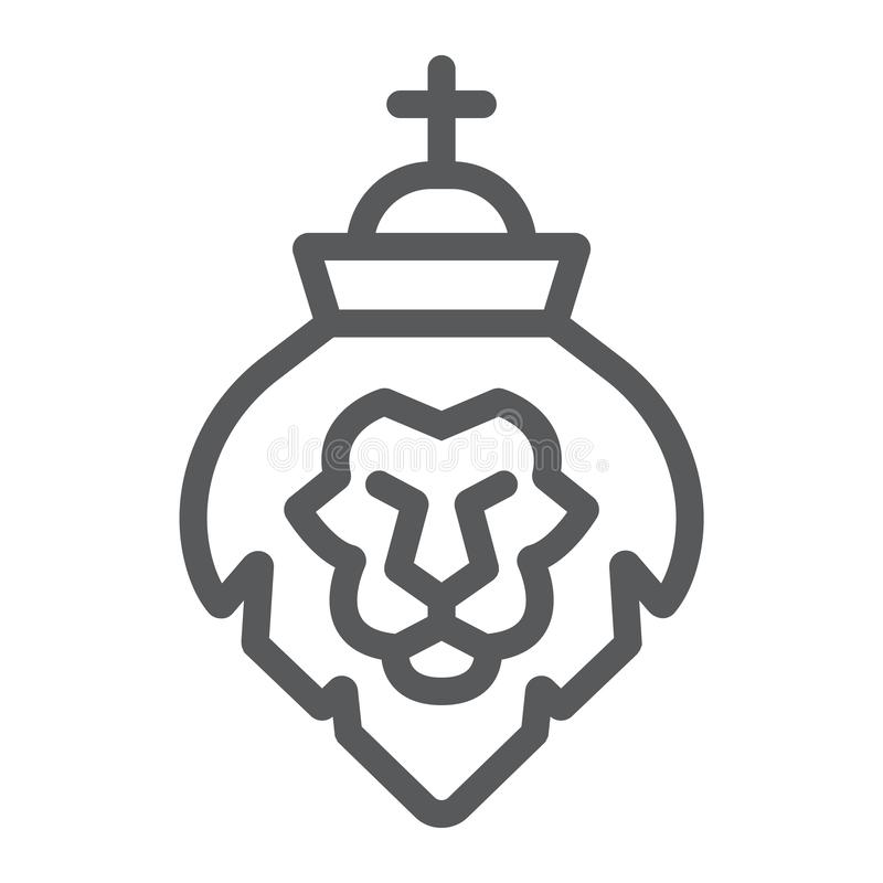 Leeuw van het pictogram van de judahlijn, godsdienst en dier, leeuw hoofdteken, vectorafbeeldingen, een lineair patroon op een wi stock illustratie