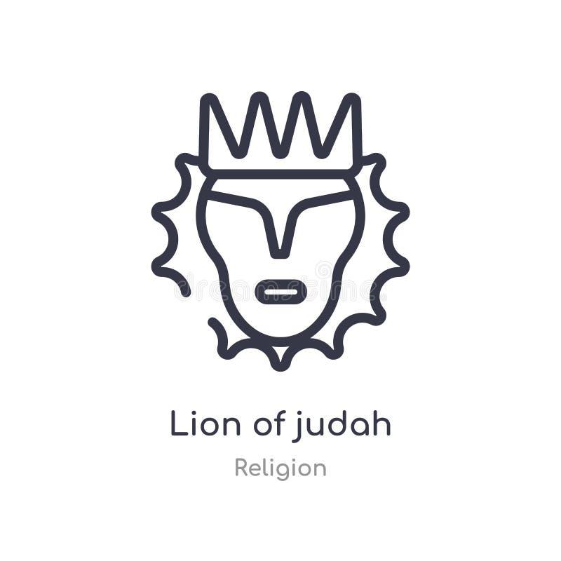leeuw van het pictogram van het judahoverzicht ge?soleerde lijn vectorillustratie van godsdienstinzameling editable dunne slaglee stock illustratie
