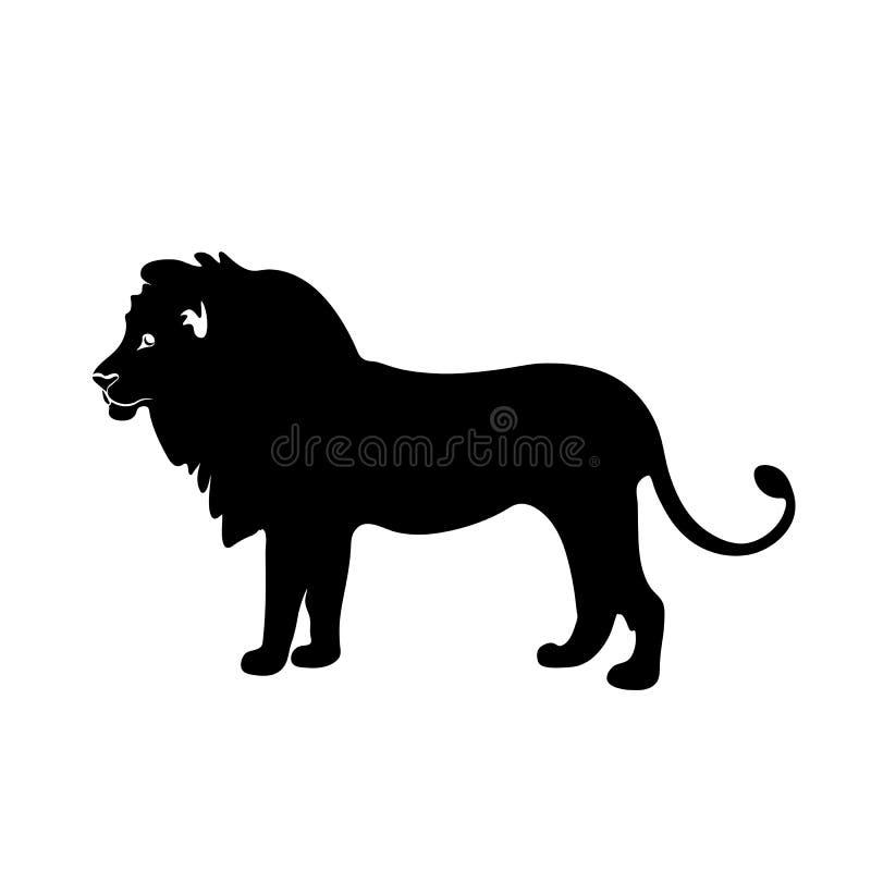 Leeuw zwart silhouet vector illustratie