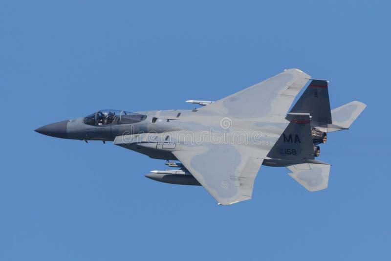 Leeuwarden, 18 de abril de 2018 holandês: Um U.S.A.F.F-15 0f o 104t imagens de stock royalty free