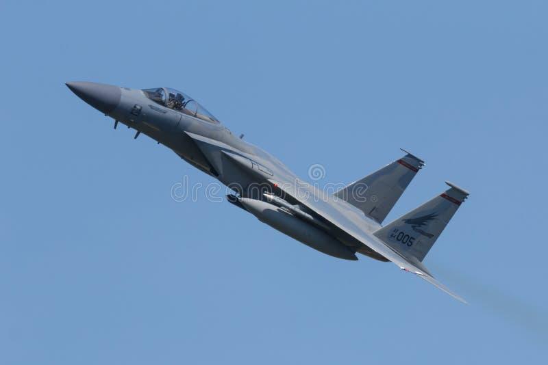 Leeuwarden, 18 de abril de 2018 holandês: Um U.S.A.F.F-15 de 142 Redha foto de stock royalty free