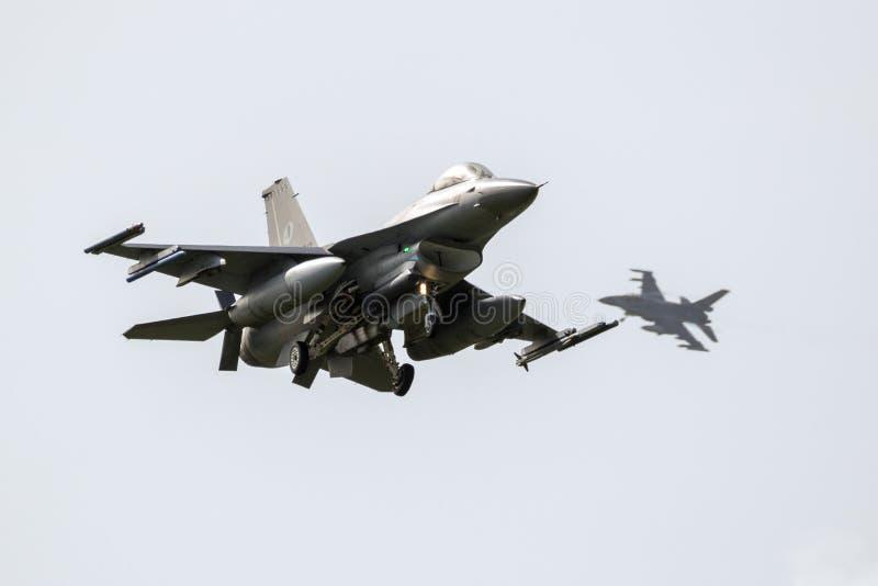 F16 fighter jets landing stock photos