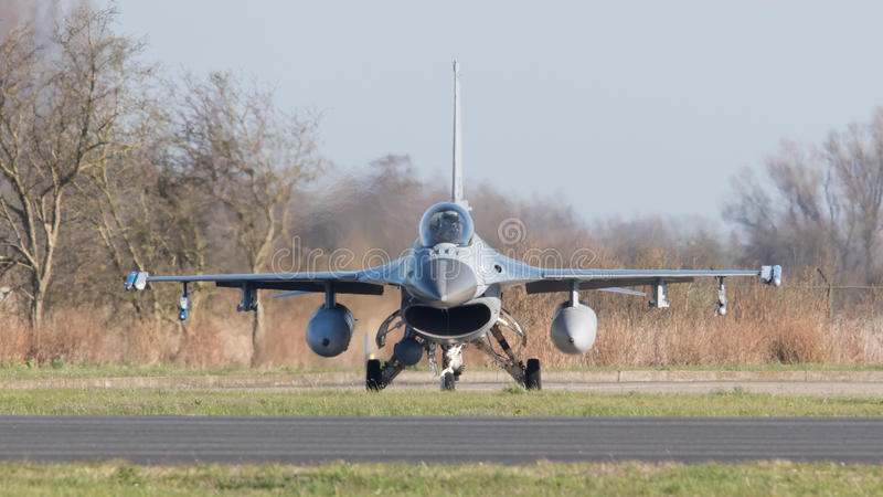 LEEUWARDEN, NETHERLANDS - APRIL 11, 2016: A dutch F-16 on the gr. Ound during the exercise Frisian Flag. The exercise is considered one of the most important royalty free stock photography