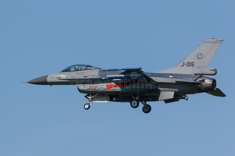 Leeuwarden, Netherlands April 18, 2018: A RNLAF F-16 during the stock photo